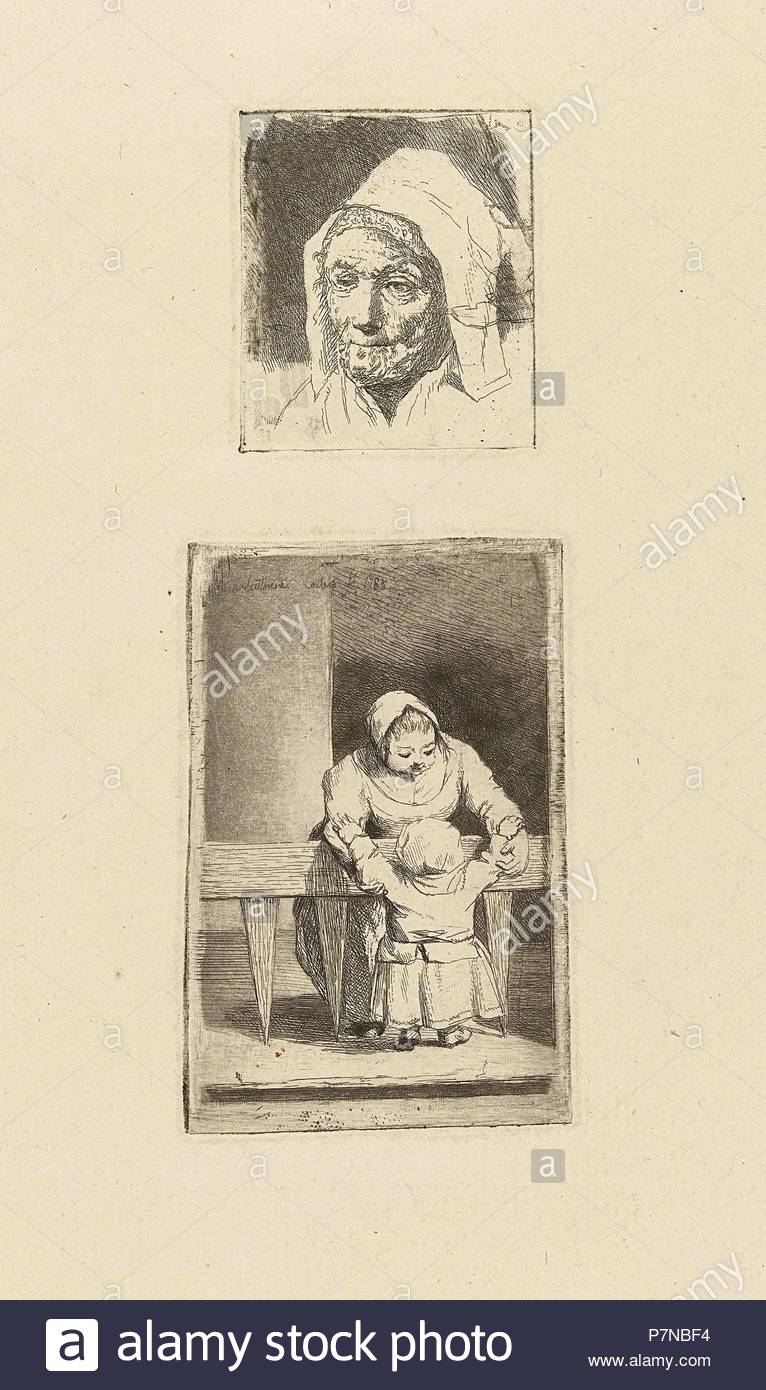 Female Head and maid with grandchild, Marie Lambertine Coclers, 1785. - Stock Image