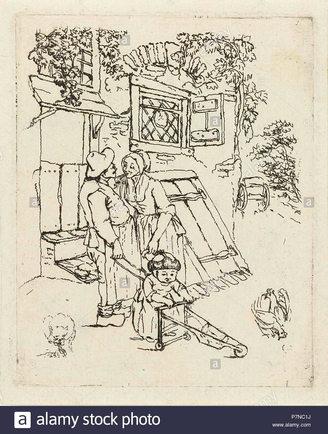 Farmer and his wife with child for a house, Marie Lambertine Coclers, 1776 - 1815. - Stock Image
