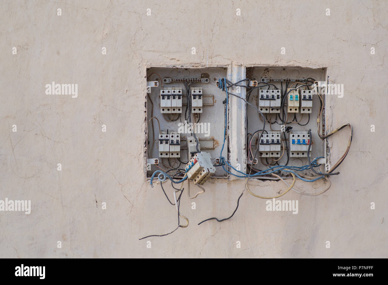 Old Electrical Fuse Box Stock Photos House Wiring Junction A Broken Image