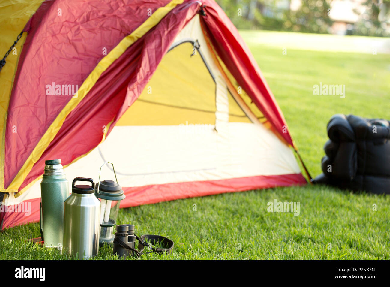 Camping backgrounds with copy space. - Stock Image