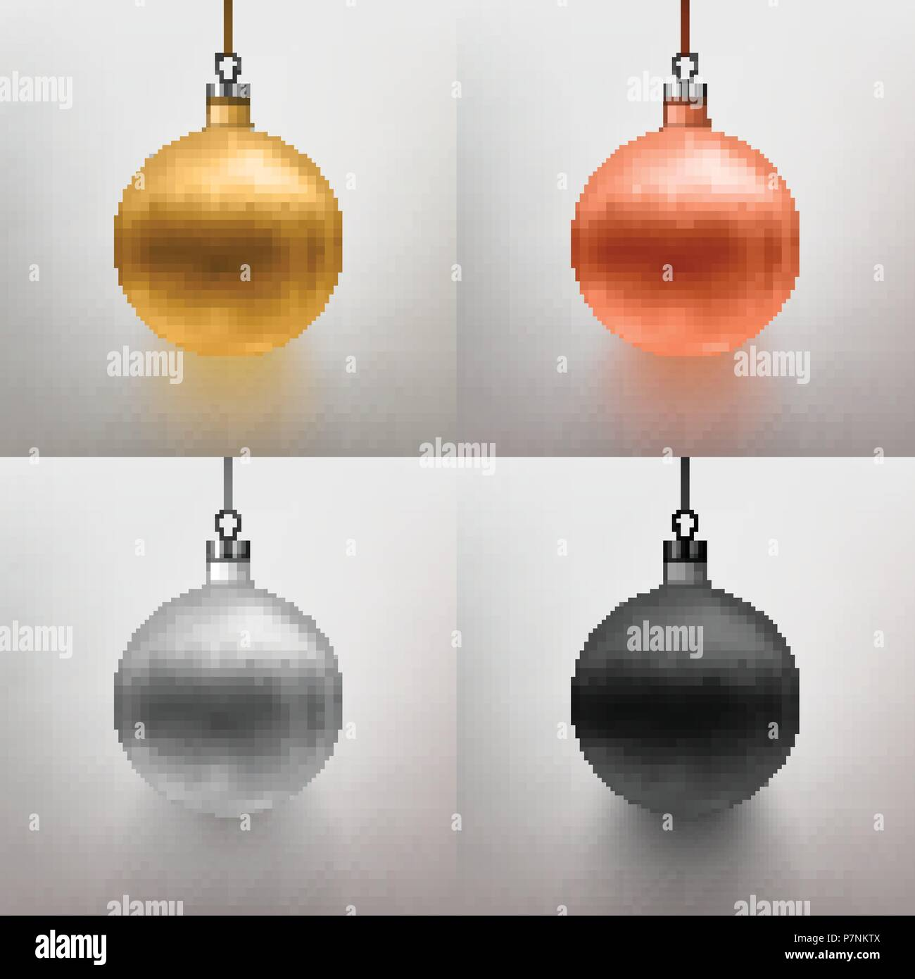 Vector Illustration Set Realistic Christmas Toy Ball Gray Background Gold Rose Silver Black EPS 10