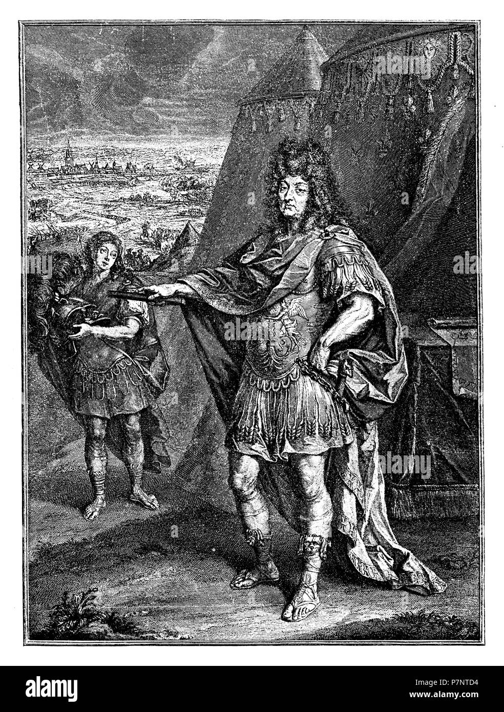 Louis XIV (Louis XIV), 1638-1715), French monarch of the Bourbon family. in  the 51st year of life. After the engraving by Peter Simon from the year  1694, ...
