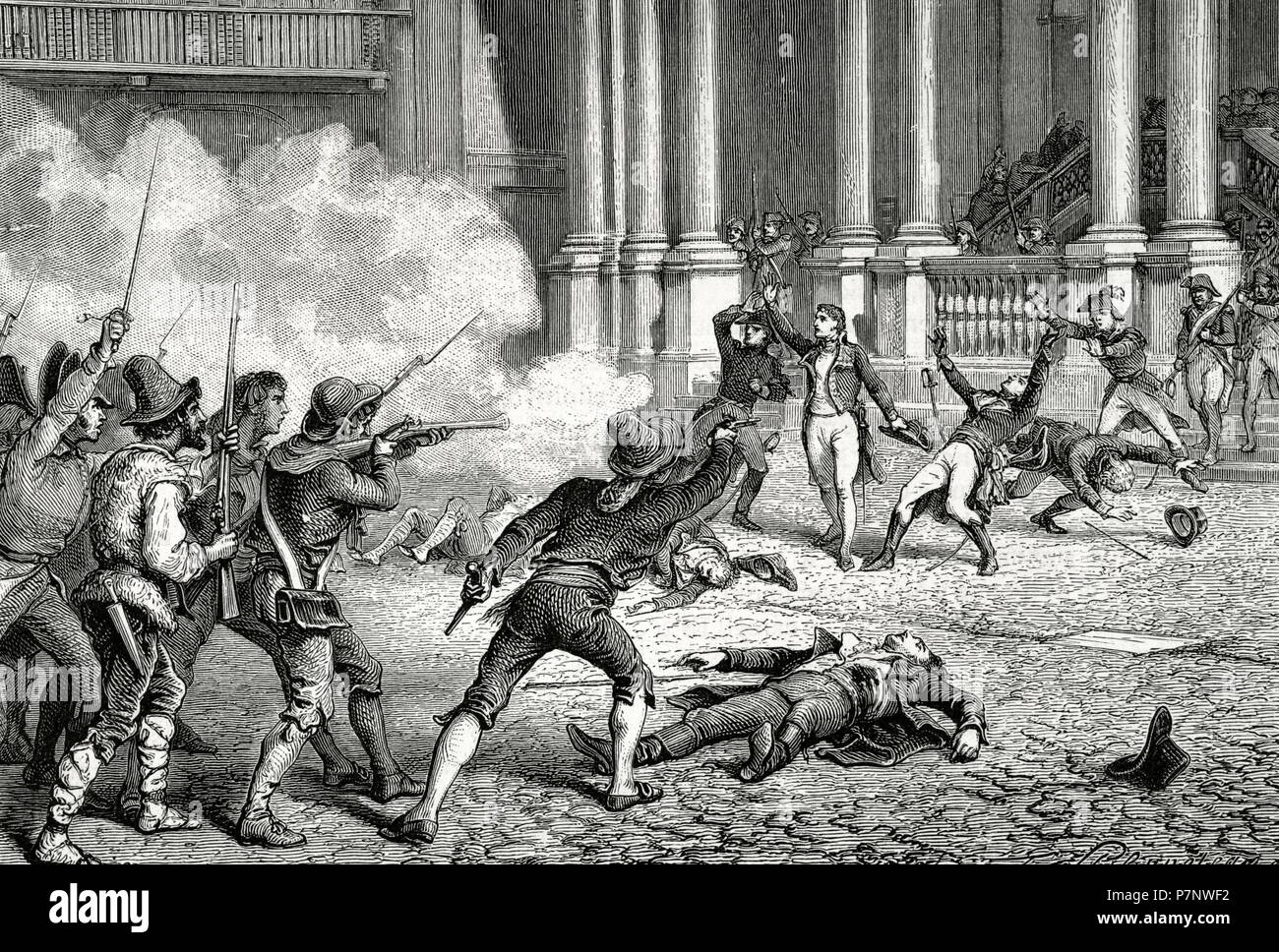 The French Revolutionary Wars (1792-1802). Italian campaign. Rome. Assassination of the French general Leonardo Duphot (1770-1797), killed in a tumult by the pontificial soldiers, Decembrer 28, 1797. Engraving by F. Philippoleau. Historia de la Revolucio_n Francesa, 1875. - Stock Image