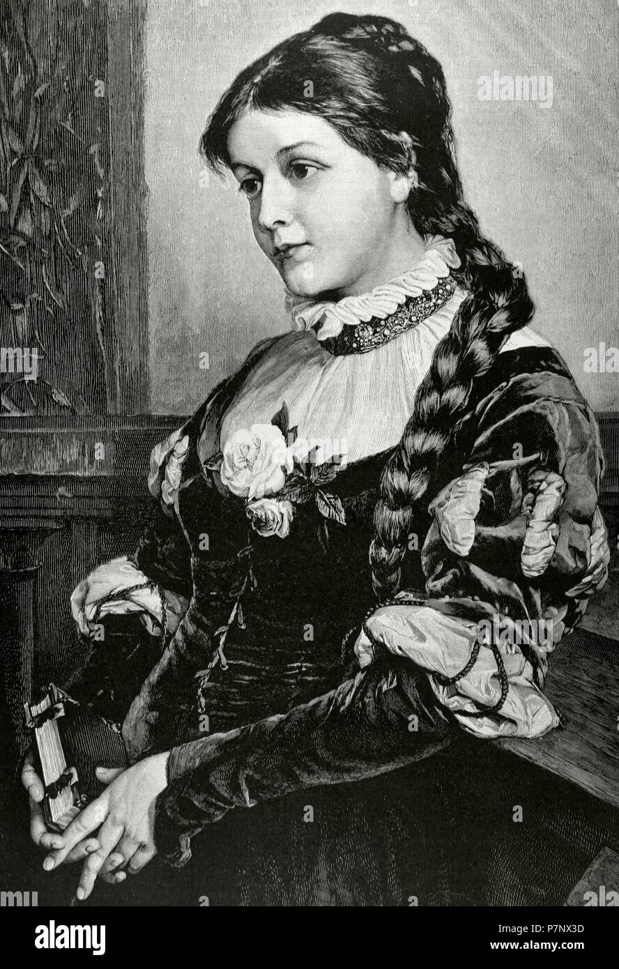 Faust. Tragic play by Johann Wolfgang von Goethe (1749-1832). Portrait of Margaret, character of the work and love of Faust. Engraving by Paar. The Illustration, 1884. - Stock Image