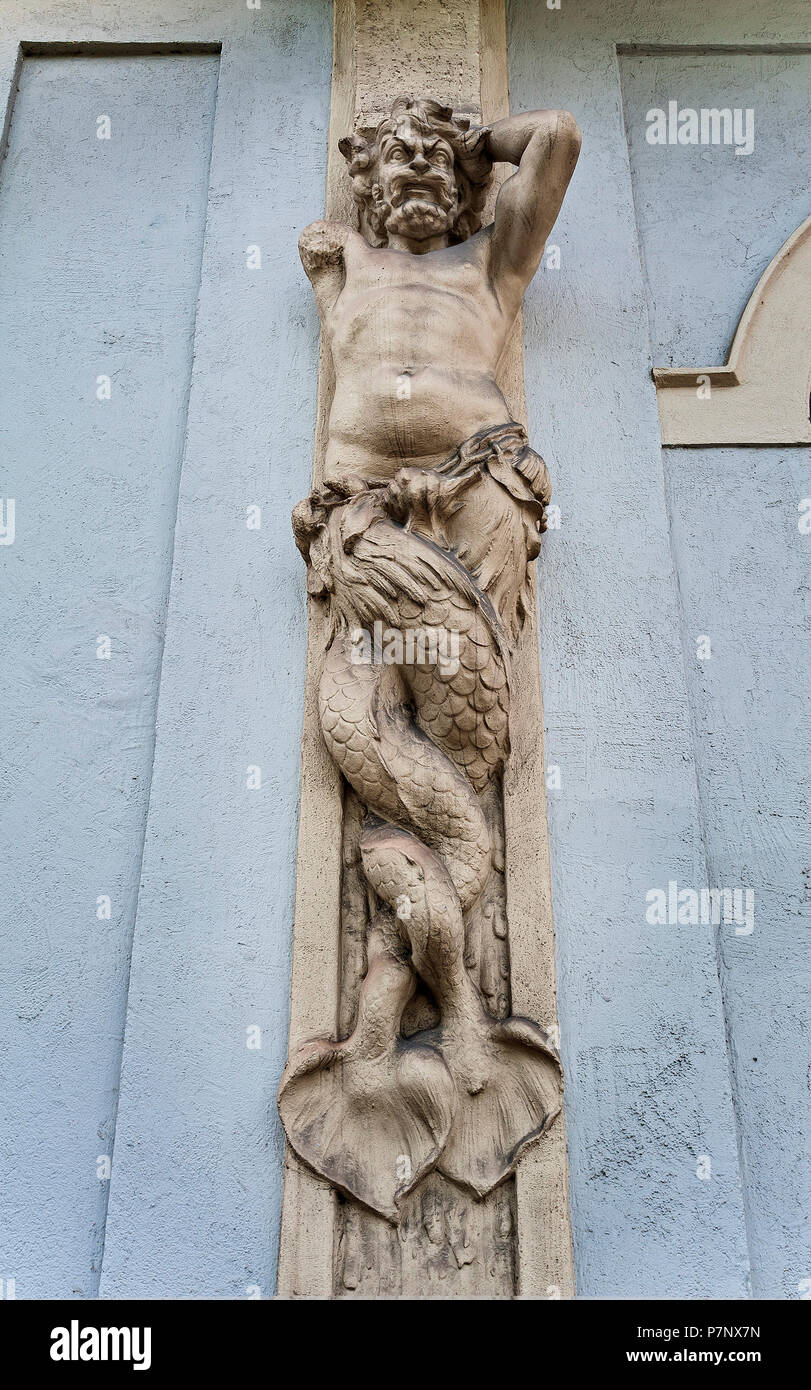 Male caryatid at the Künstlerhaus, Munich, Upper Bavaria, Bavaria, Germany - Stock Image