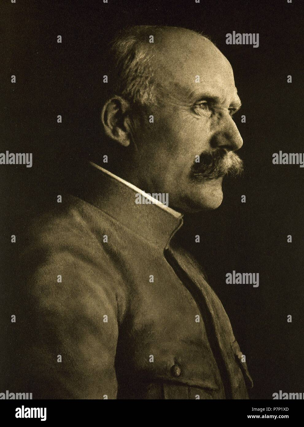 Philippe Petain (1856-1951). French general who reached the distinction of Marshal of France. Chief of State of Vichy France from 1940 to 1944. Portrait. 'La Ilustracion Francesa', 1917. - Stock Image