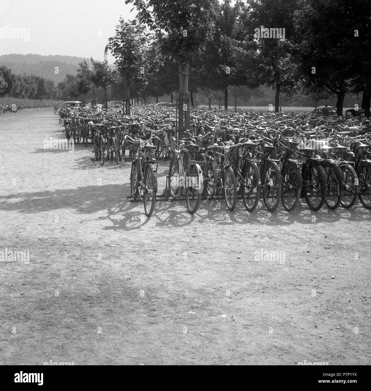 Bicycles parked, ca. 1945 to 1955, near Freiburg, Germany Stock Photo