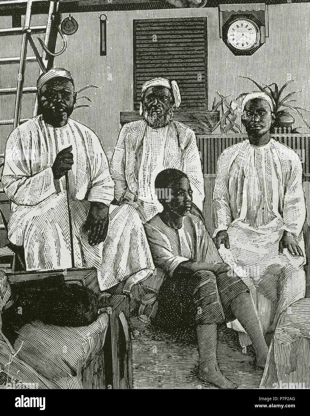 Tippu Tip (1832-1905). Swahili-Zanzibari slave trader. An ivory trader, explorer, plantation owner and governor. Tippu Tip with his collaborators. Engraving. 'Les Grands Dossiers de l'Illustration'. - Stock Image