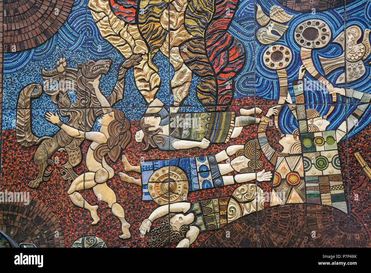 Detail of the The Táin or Táin Bó Cuailgne ( Love Story ) mosaic or mural on the Setanta Wall off Nassau Street, Dublin, Ireland, Europe. Stock Photo