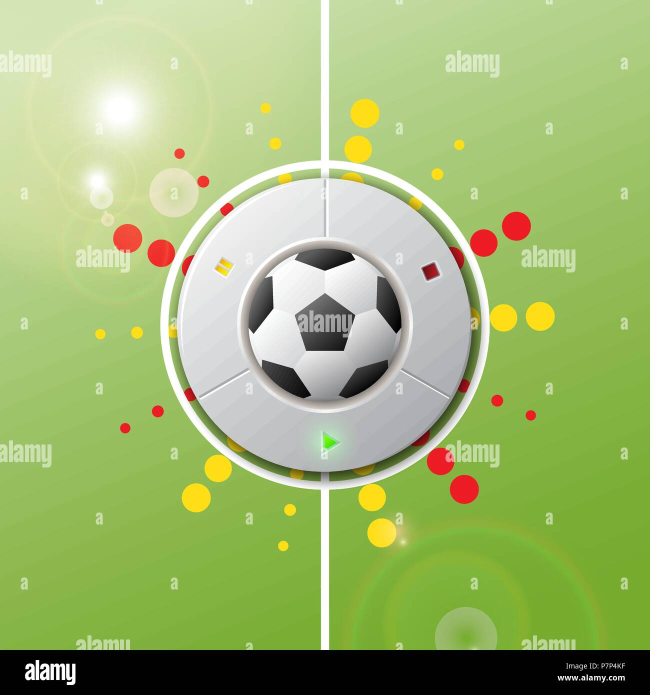 Realistic football button to play game match on green field. Vector illustration signs for the soccer championship, games. - Stock Vector