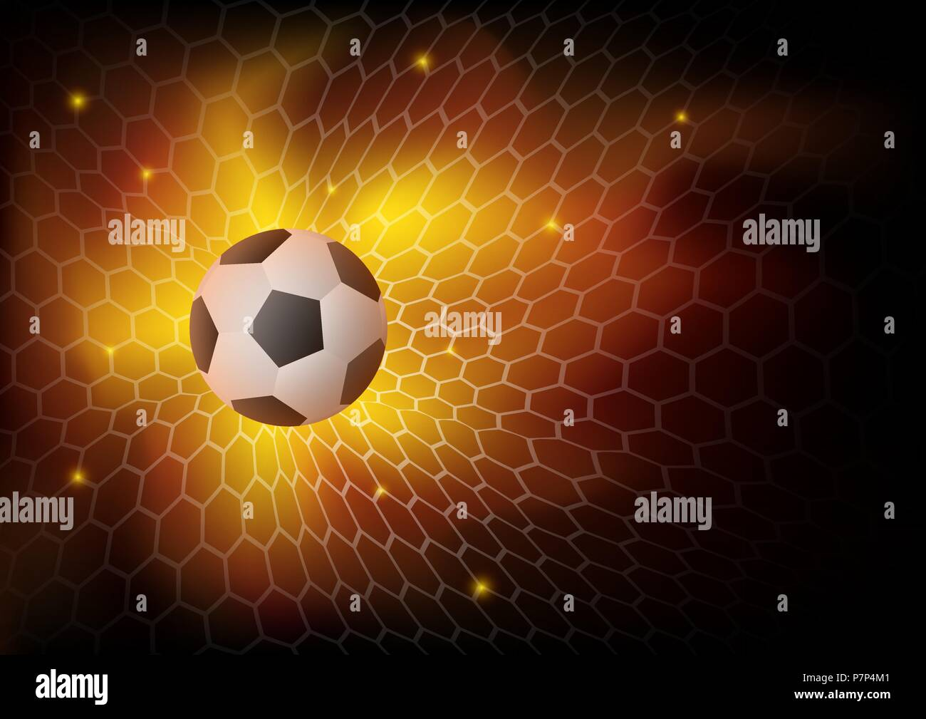Fire football background, Abstract ball game match goal moment with ball in the net. Vector illustration for the soccer championship, games. - Stock Vector