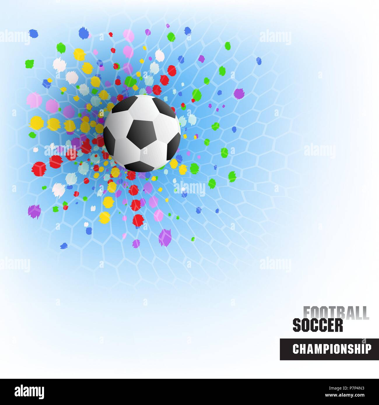Football background, realistic ball game match goal moment with ball in the net. Vector illustration for the soccer  championship, games,the stadium F - Stock Vector