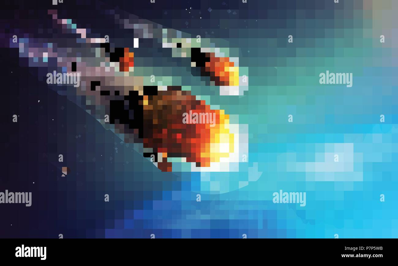 Stock vector illustration meteorite, comet, asteroid, meteor, planetoid. Planet from Space, atmosphere. Armageddon, catastrophe, end of the world. EPS 10 - Stock Image