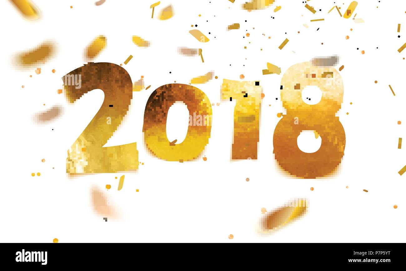 stock vector illustration 2018 happy new year shiny sparkly typeface gold leaf golden confetti isolated on white background
