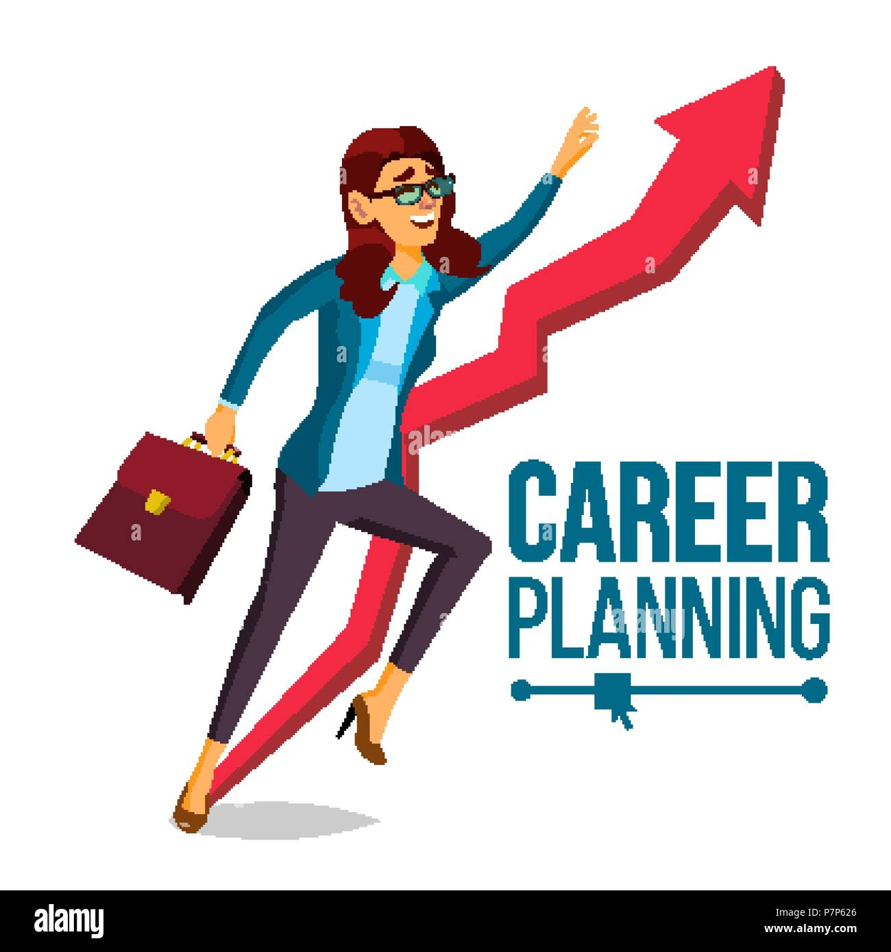 Business Woman Career Planning Vector Fast Career Growth Achieve Goal Huge Red Arrow More Profit Isolated Cartoon Illustration Stock Vector Image Art Alamy