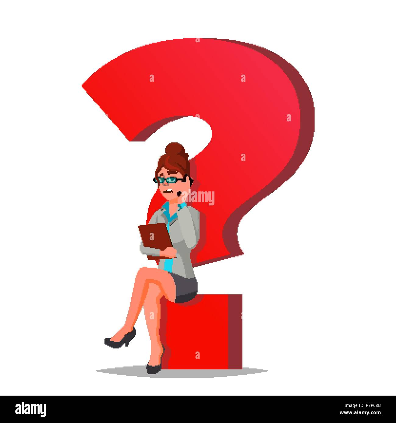 Question Mark Business Woman Vector. Thinking. Find Next Job, Project. HR. Sitting On Question Mark. Isolated Cartoon Illustration - Stock Vector