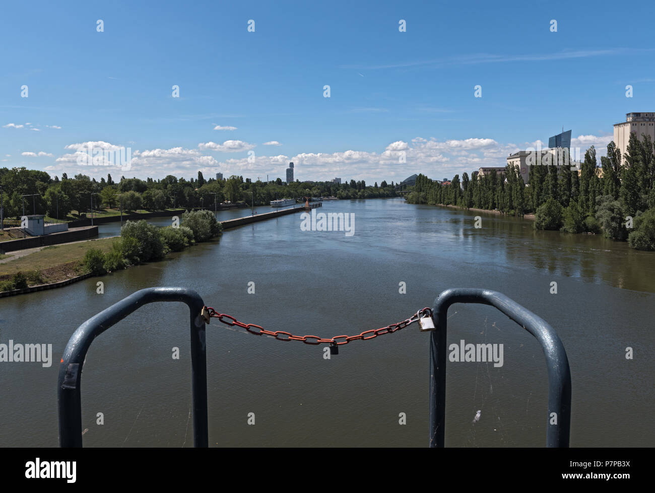 view from the barrage and sluice Offenbach on the Main river - Stock Image