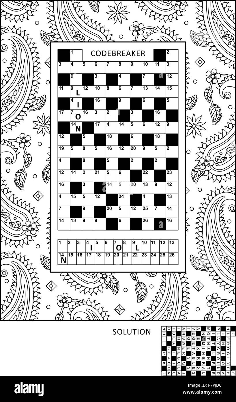 Puzzle and coloring activity page for grown-ups with