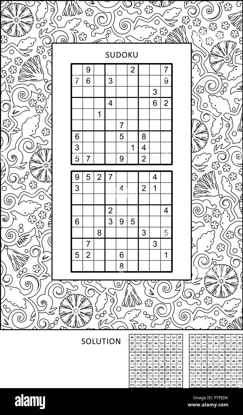 Puzzle and coloring activity page for grown-ups with two ...