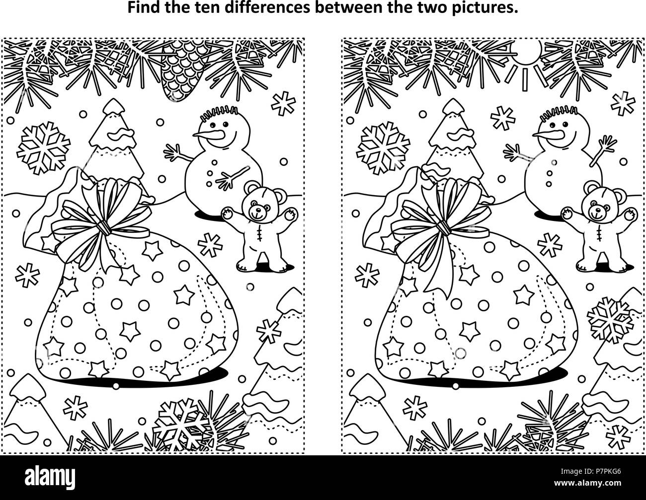winter holidays themed find the ten differences picture puzzle and coloring page with santas sack teddy bear snowman
