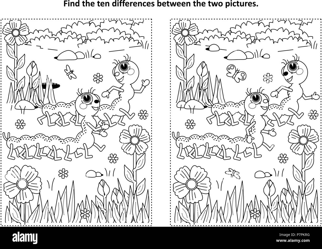 Spring Or Summer Themed Find The Ten Differences Picture Puzzle And Coloring Page With Two Cute Caterpillars Walking In Garden