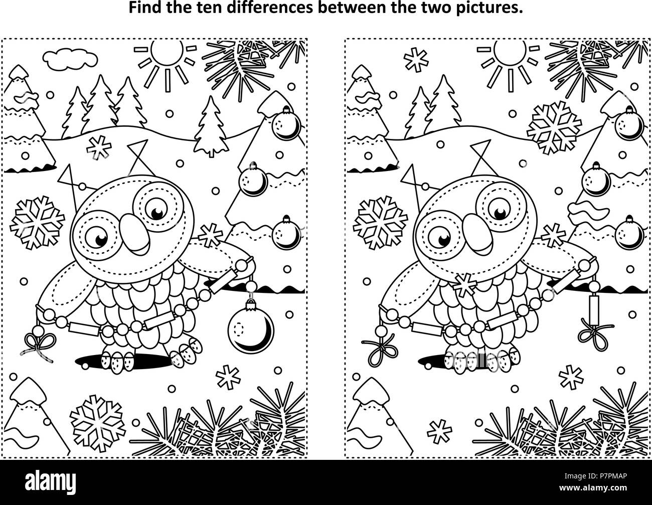 winter holidays new year or christmas themed find the ten differences picture puzzle and coloring page with owl holding glass beads garland