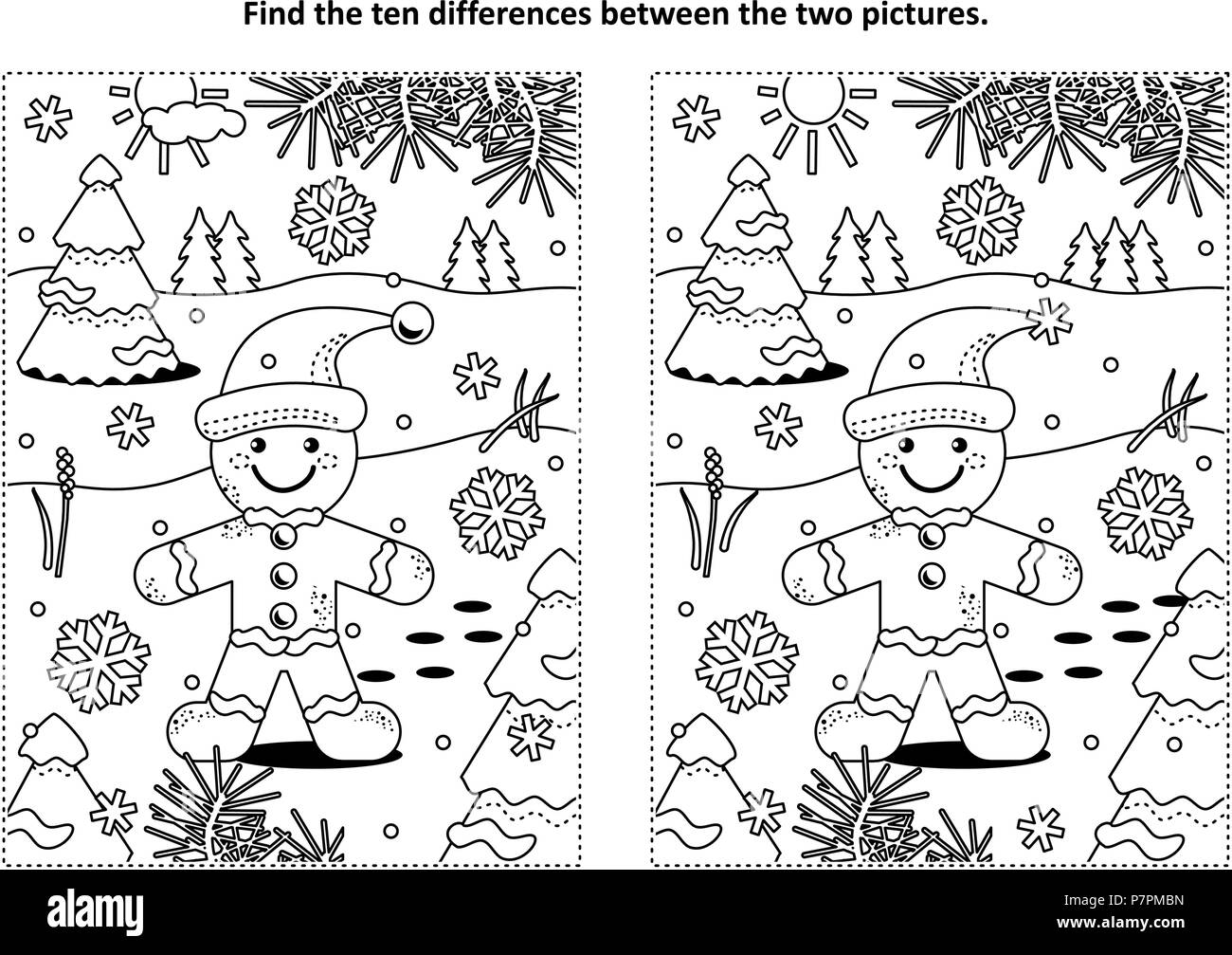 Winter holidays, Christmas or New Year themed find the ten differences picture puzzle and coloring page with ginger man cookie. Stock Vector