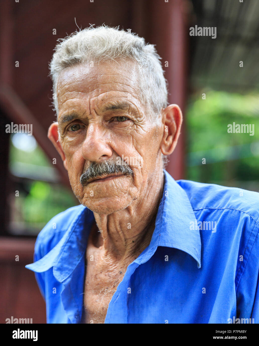 Portrait of Cuban male tobacco farmer, Pinar del Rio Province, Vinales Valley, Cuba - Stock Image