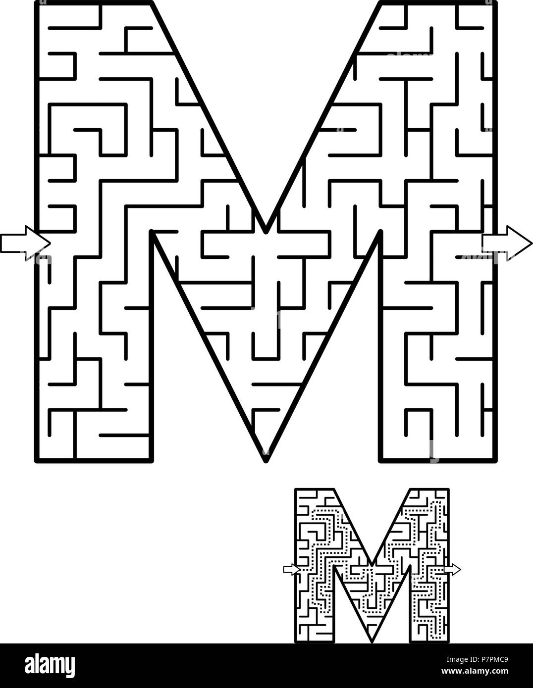 Kids Letter Mazes Printables - Get Coloring Pages | 1390x1076