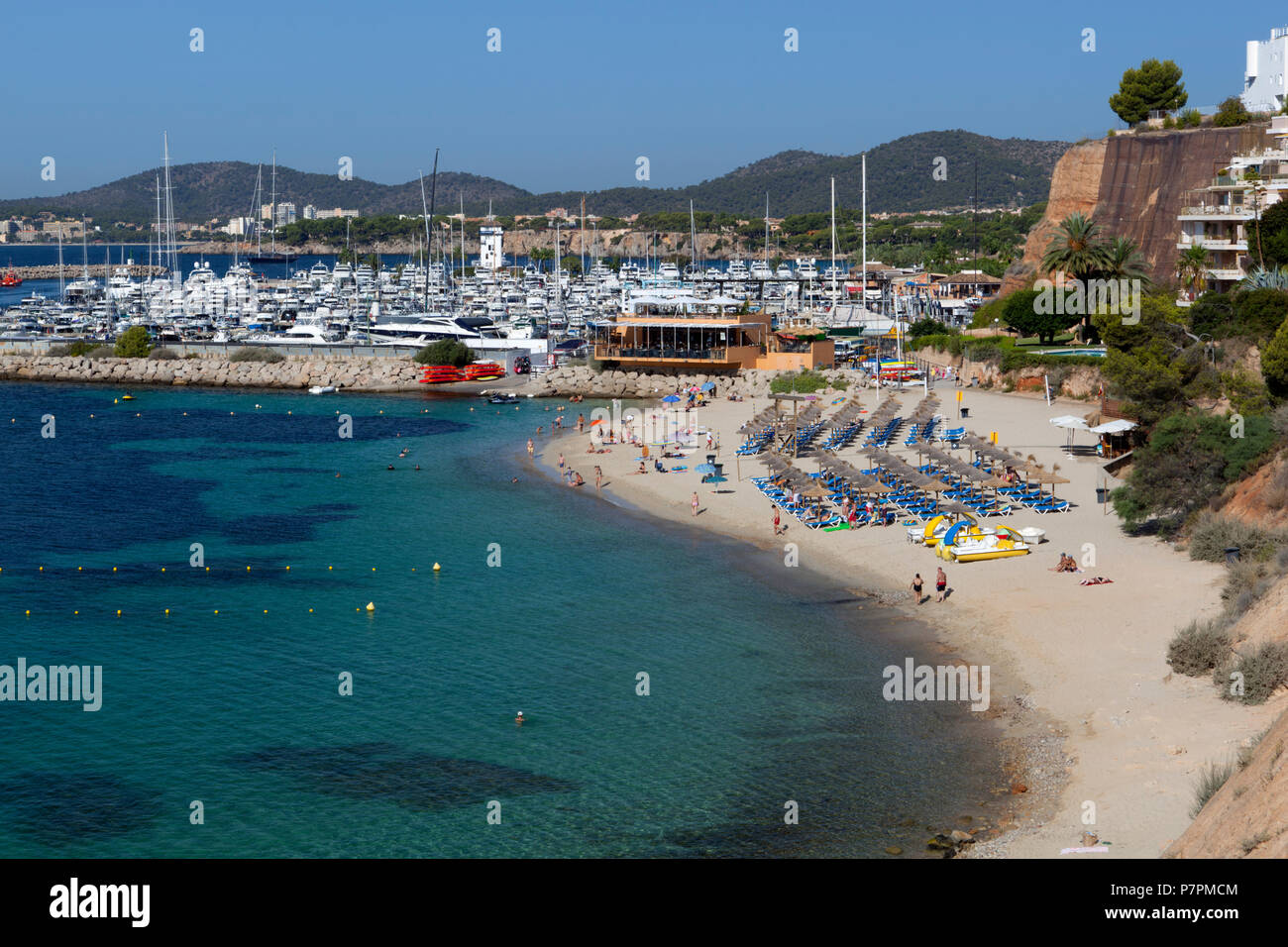 View of beach and marina of Portals Nous - Stock Image