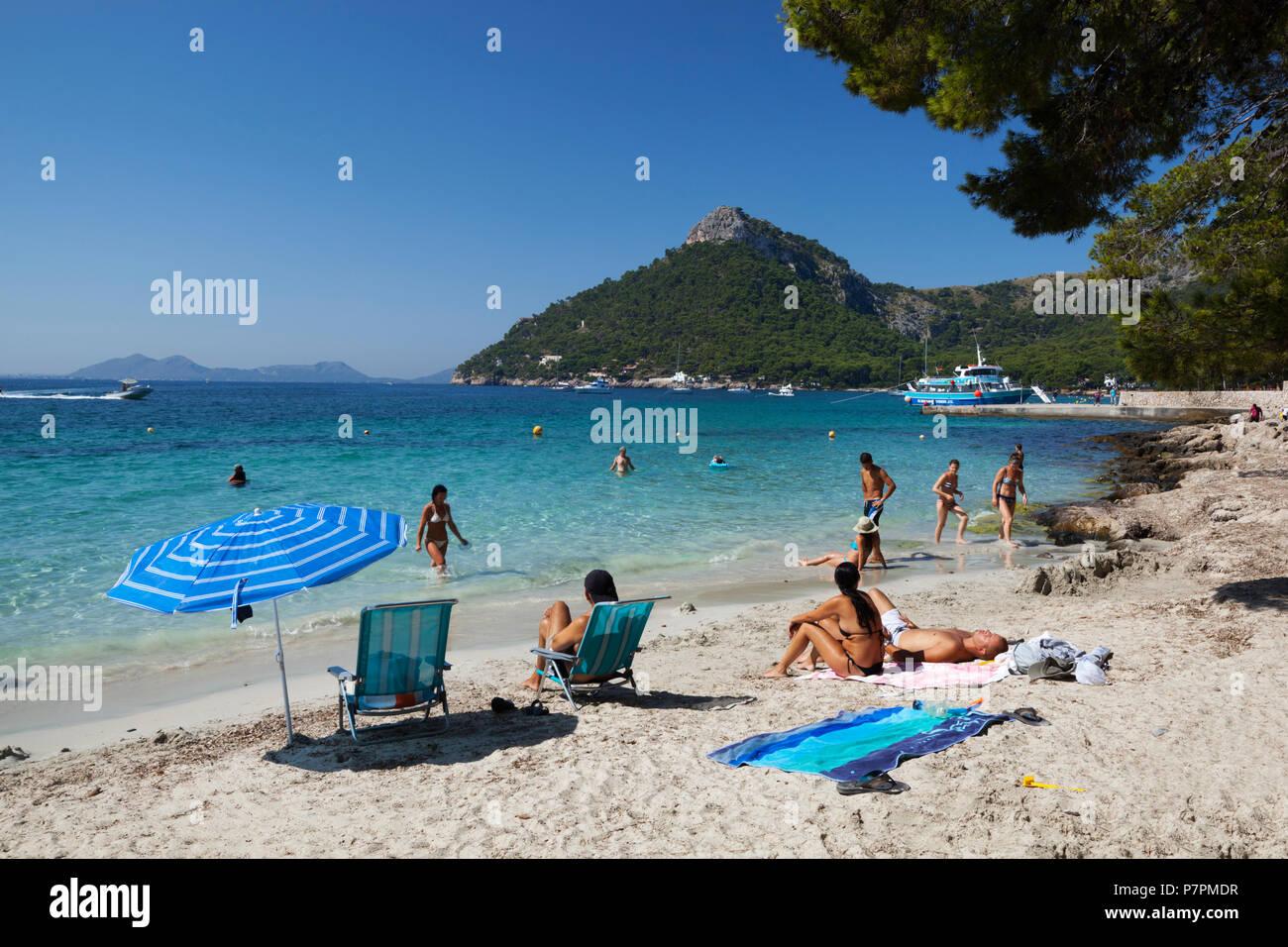 Platja Formentor (Playa de Formentor) near Port de Pollenca, Mallorca, Balearic Islands, Spain, Europe - Stock Image