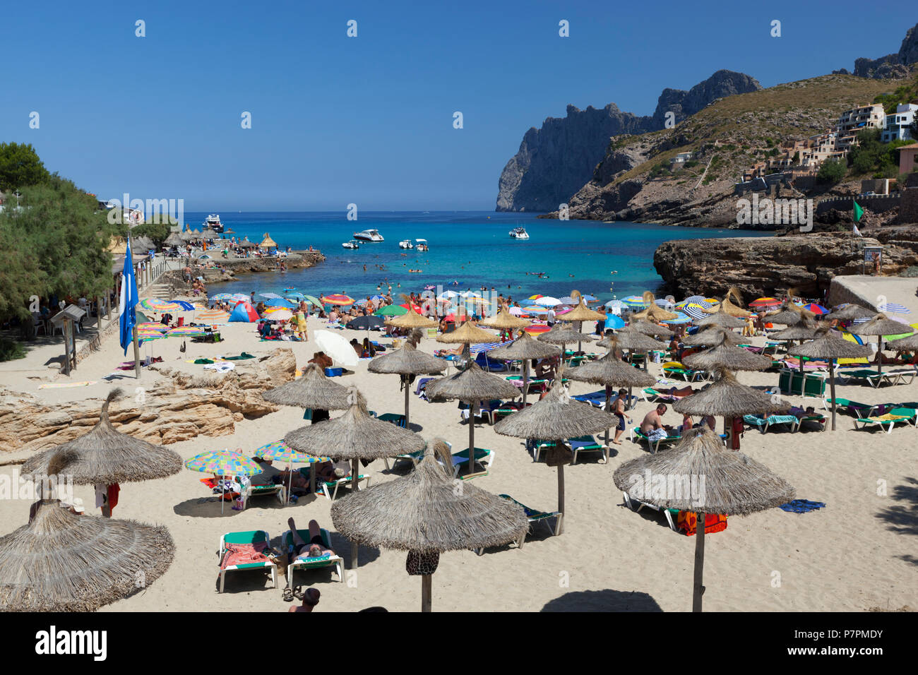 View over beach of Cala San Vincente in summer - Stock Image