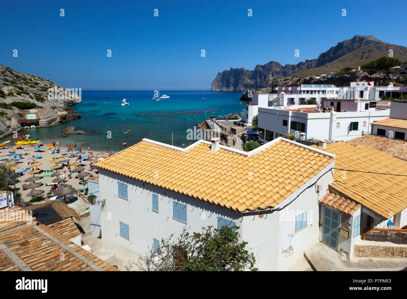 View over resort of Cala San Vincente in summer - Stock Image