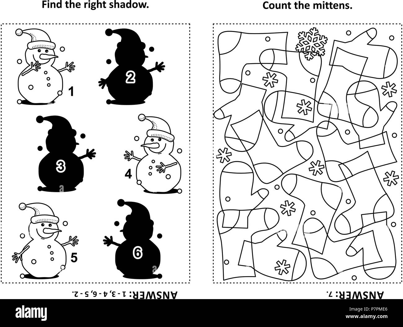 Two visual puzzles and coloring page for kids find the right shadow for each picture of snowman count the mittens black and white answers included