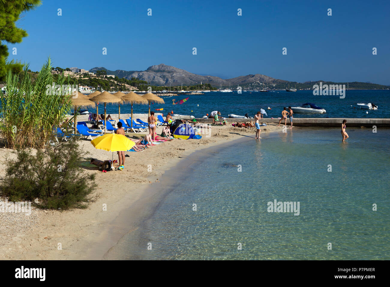 View along beach at Port de Pollenca - Stock Image