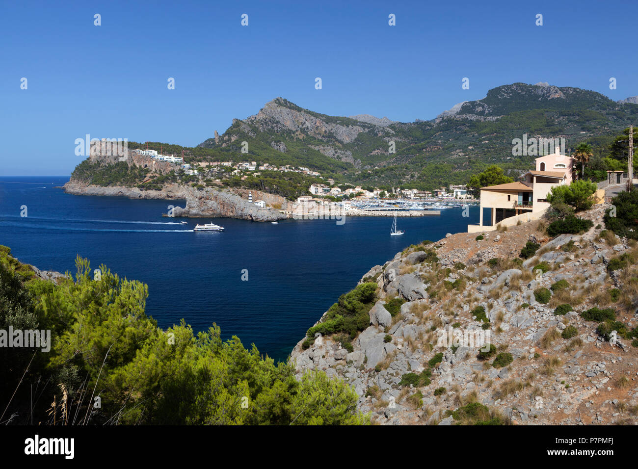 View over bay and harbour - Stock Image