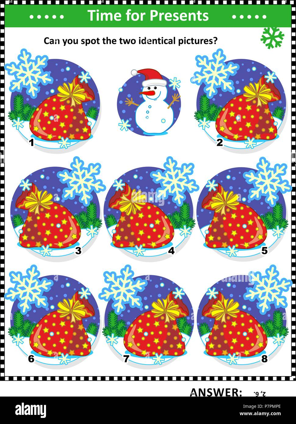 Winter, Christmas or New Year themed visual puzzle with Santa's sacks full of toys and presents: Can you spot the two identical pictures? - Stock Vector