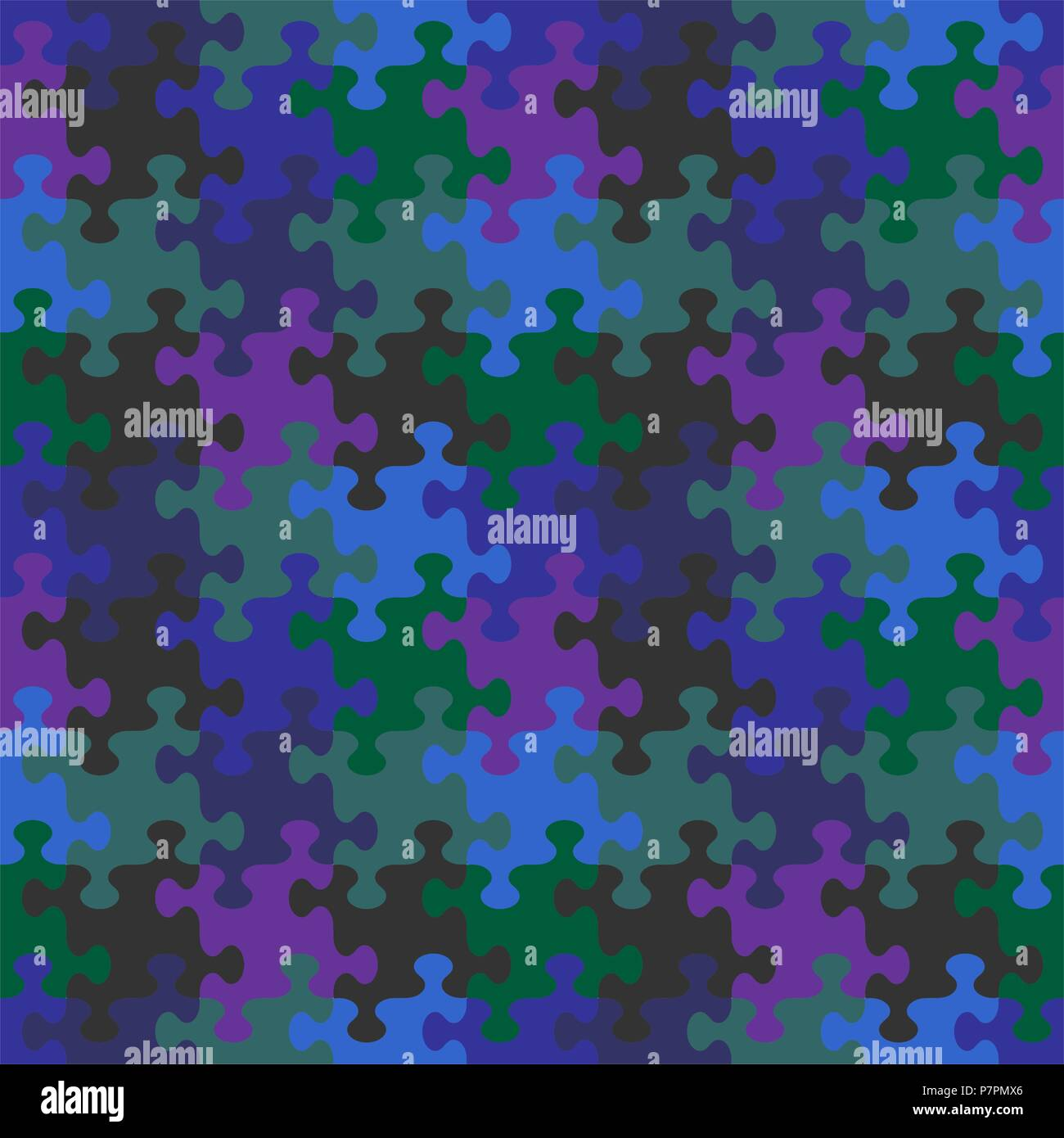 Seamless You See 4 Tiles Jigsaw Puzzle Pattern Background Print Swatch Or Wallpaper With Whimsically Shaped Pieces Of Dark Night Sky Colors