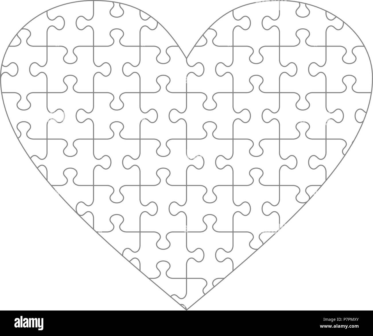 heart shaped jigsaw puzzle blank template with classic style piece