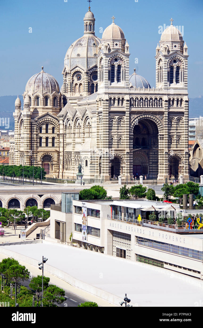 Marseille, The Cathedral, one of the largest in France built in a Byzantine-Roman Revival style from 1852 to 1896, viewed from the SW. - Stock Image