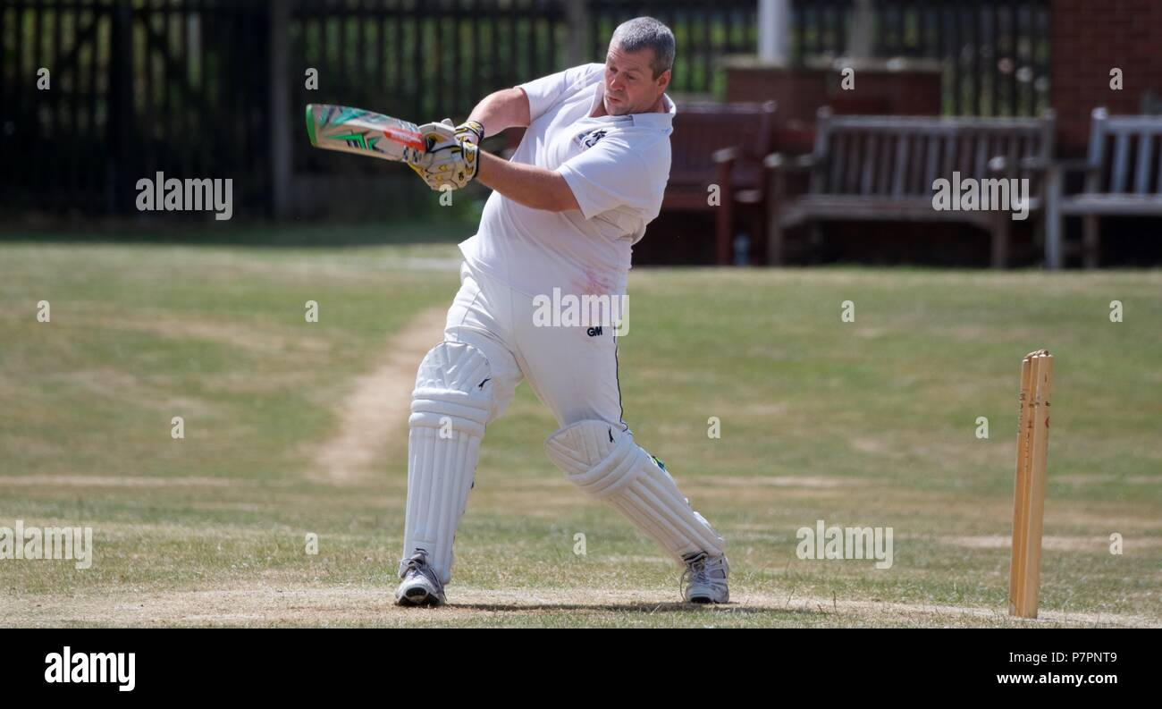 A cricket batsman hits out. Stock Photo