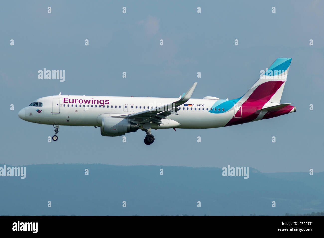 eurowings airbus is approching stuttgart airport, germany - Stock Image