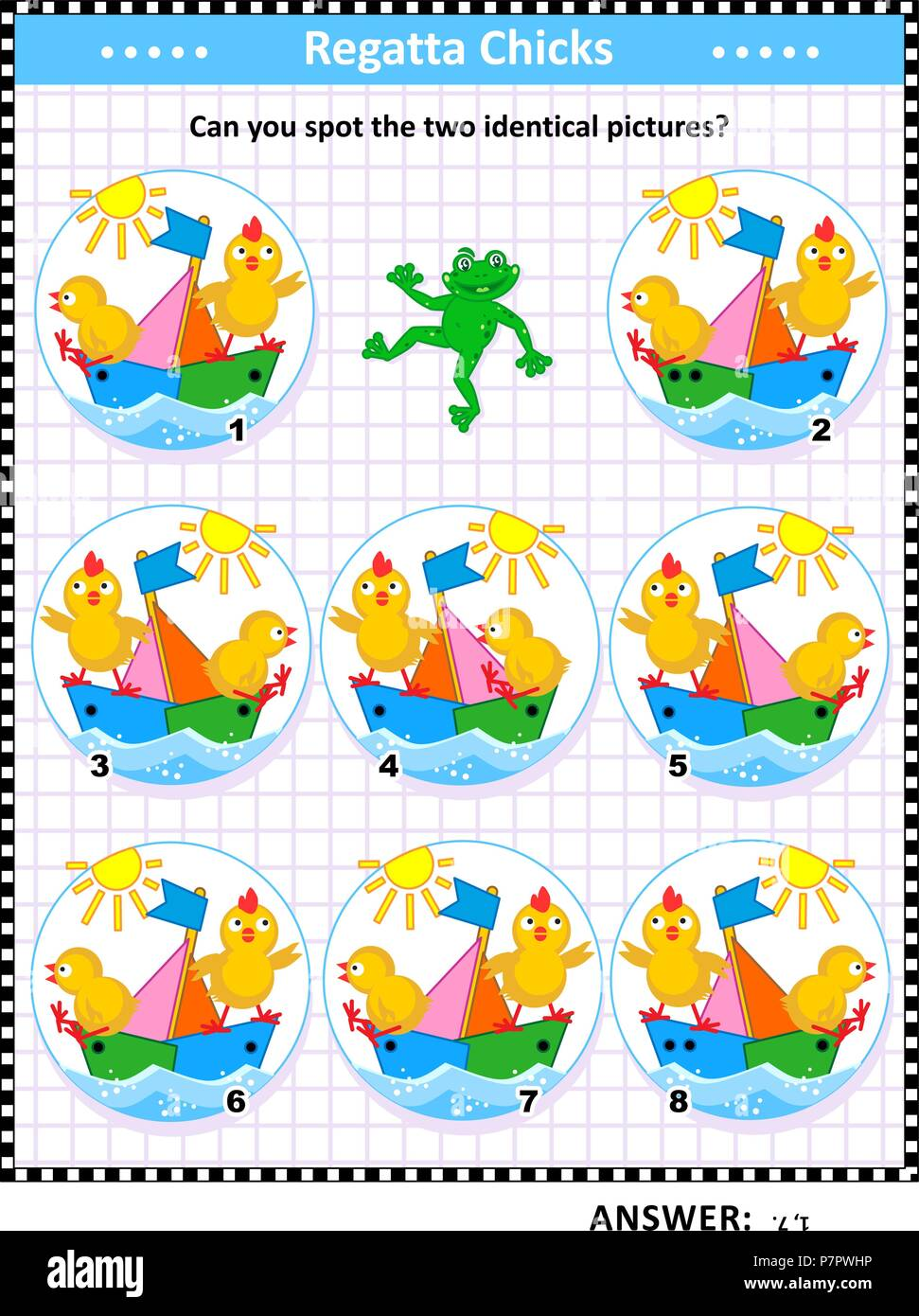 spring or summer themed visual puzzle with sailor chicks and