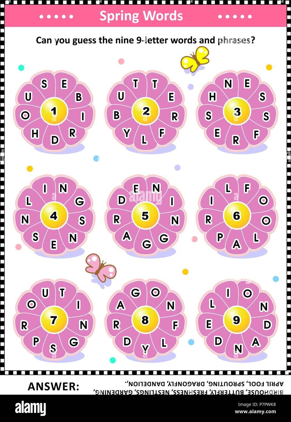 spring themed word puzzle english language with words written on petals around the flowers can you guess the nine 9 letter words answer included
