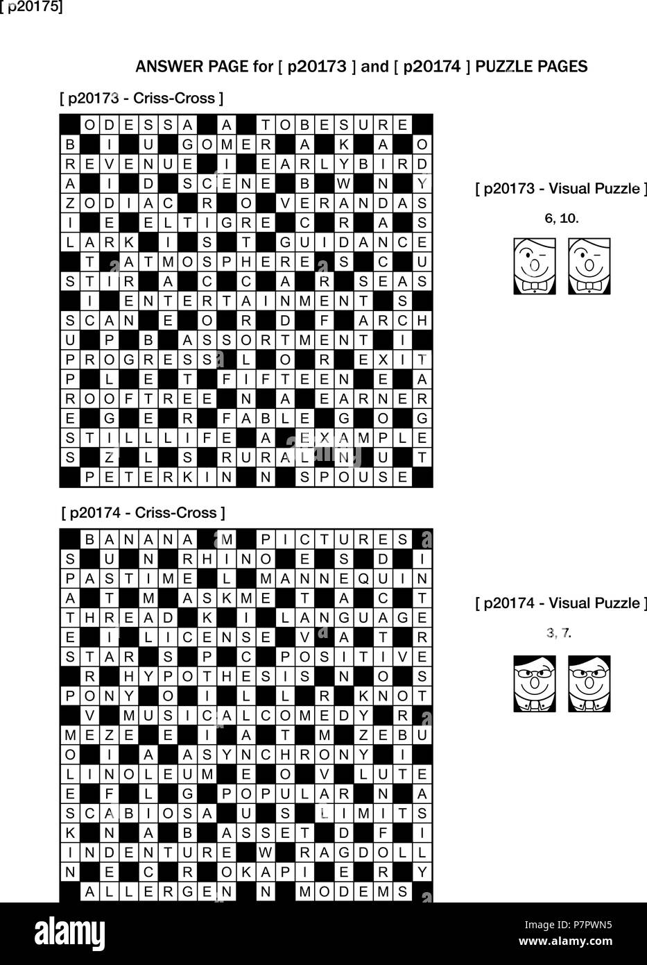 Answer page for previous puzzle pages with two games on each