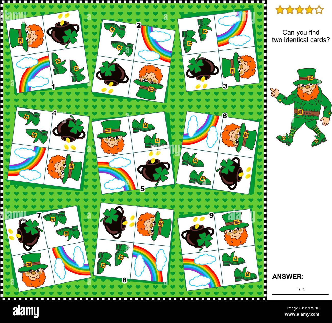 Visual logic puzzle St  Patrick's Day themed: Find the two identical