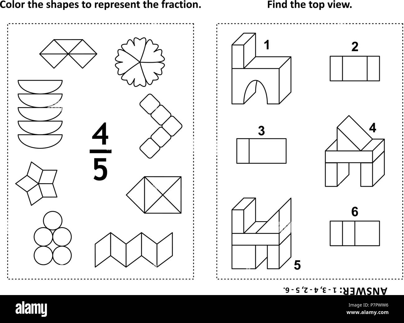 Two Visual Math Puzzles And Coloring Pages Color The Shapes To Represent The Fraction Find The Top View Black And White Answer Included Stock Vector Image Art Alamy