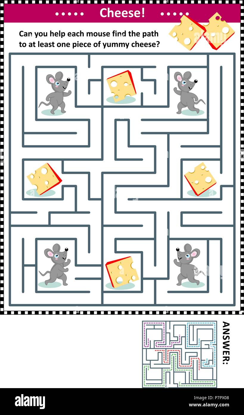 maze game for children with four mice and four pieces of cheese can