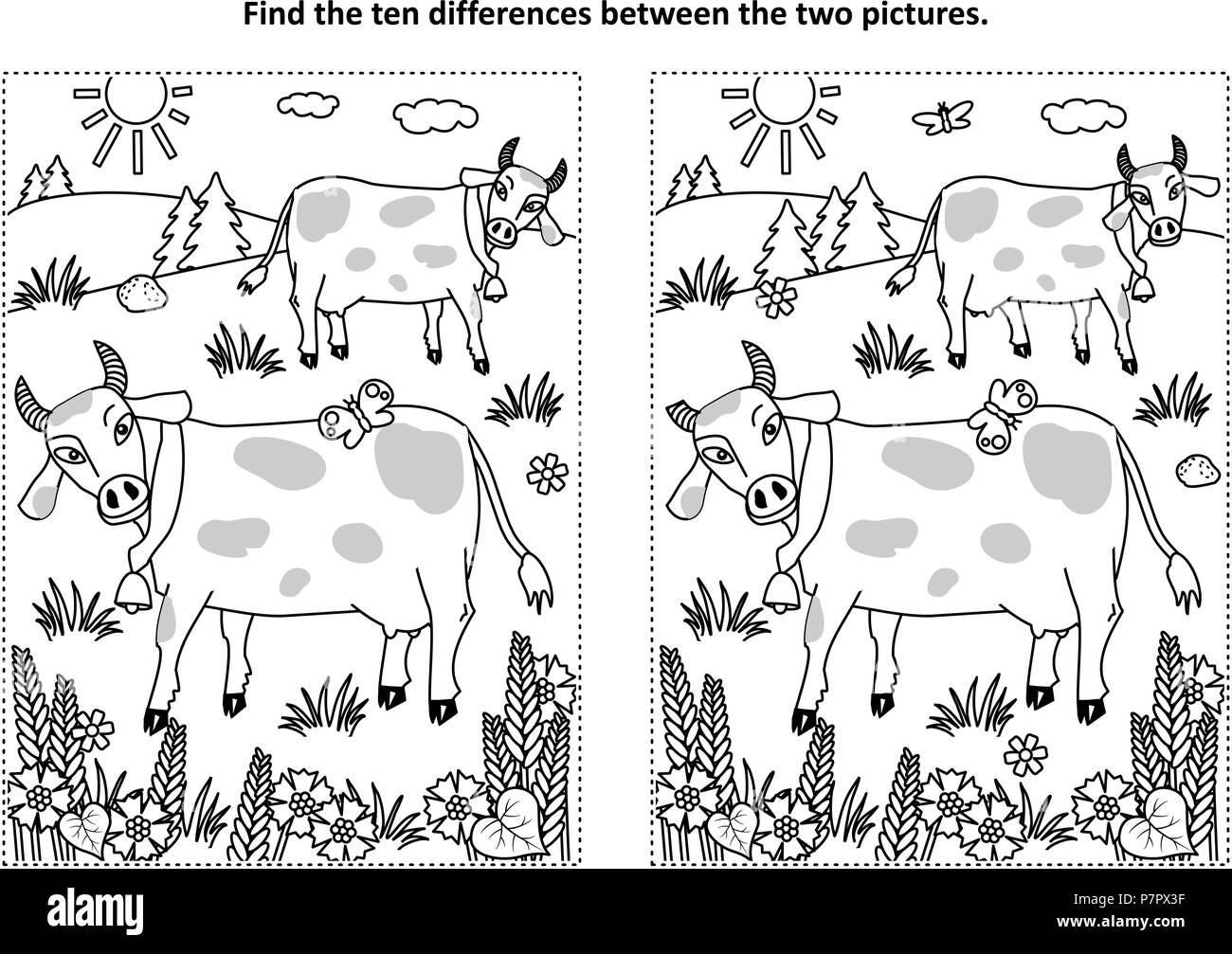 Find the ten differences picture puzzle and coloring page with ...