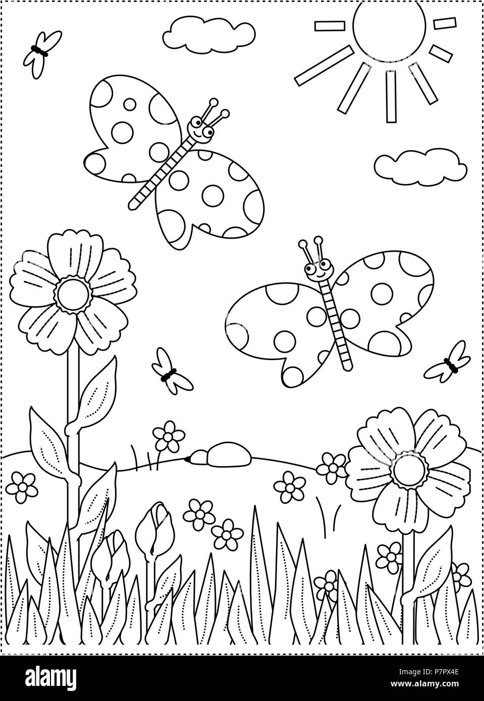 Spring or summer joy themed coloring page with butterflies, flowers ...